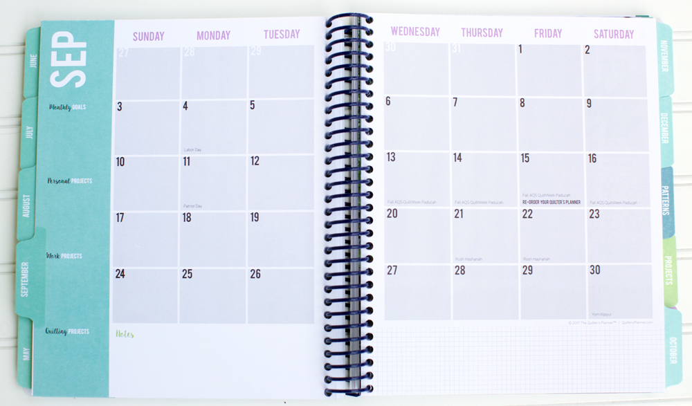 How to Use the Monthly Planner in the Quilter's Planner