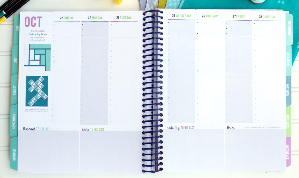 How to Get Organized and Inspired with the Weekly Calendar of The Quilter's Planner