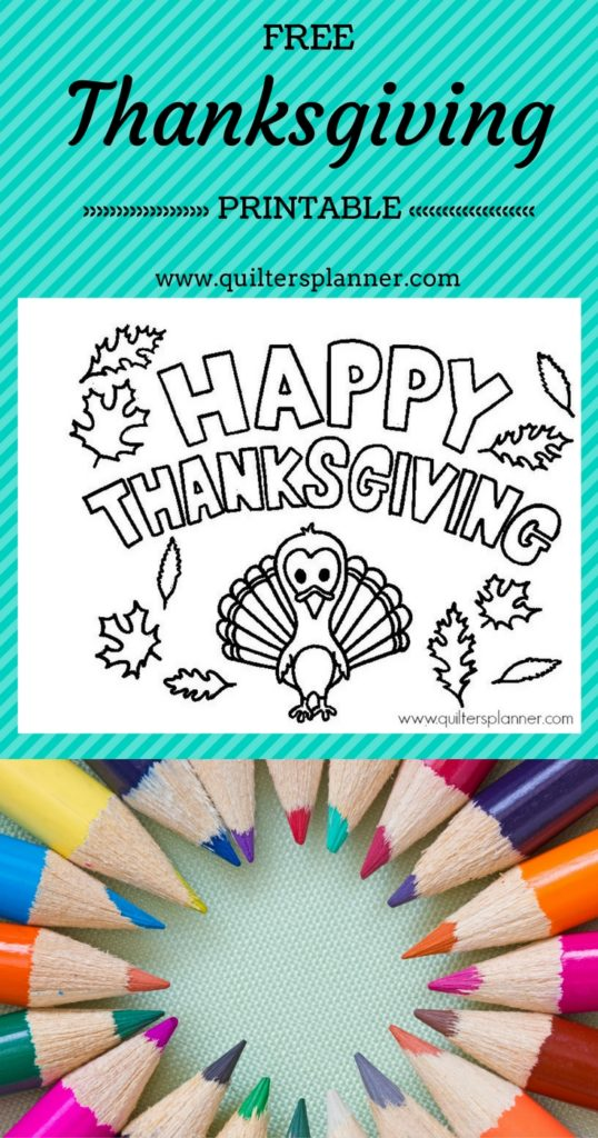 Free Thanksgiving Printable Coloring Page from www.quiltersplanner.com