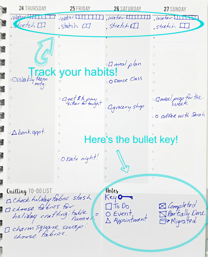 How to Bullet Journal in your Planner   quiltersplanner.com