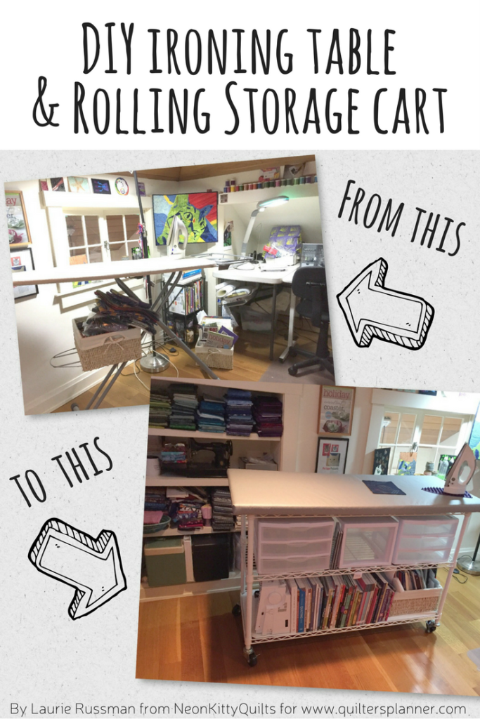 DIY Large Ironing Table and Rolling Storage Cart