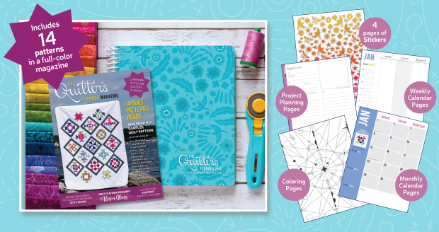 The 2018 Quilter's Planner comes with 14 patterns in a collector's magazine this year!