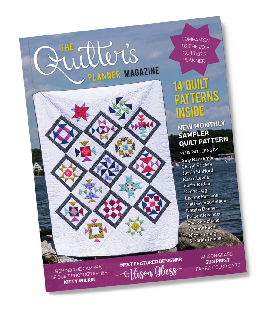 The Quilter's Planner 2018 comes with a magazine with 14 patterns and 4 pages of stickers and so much more!