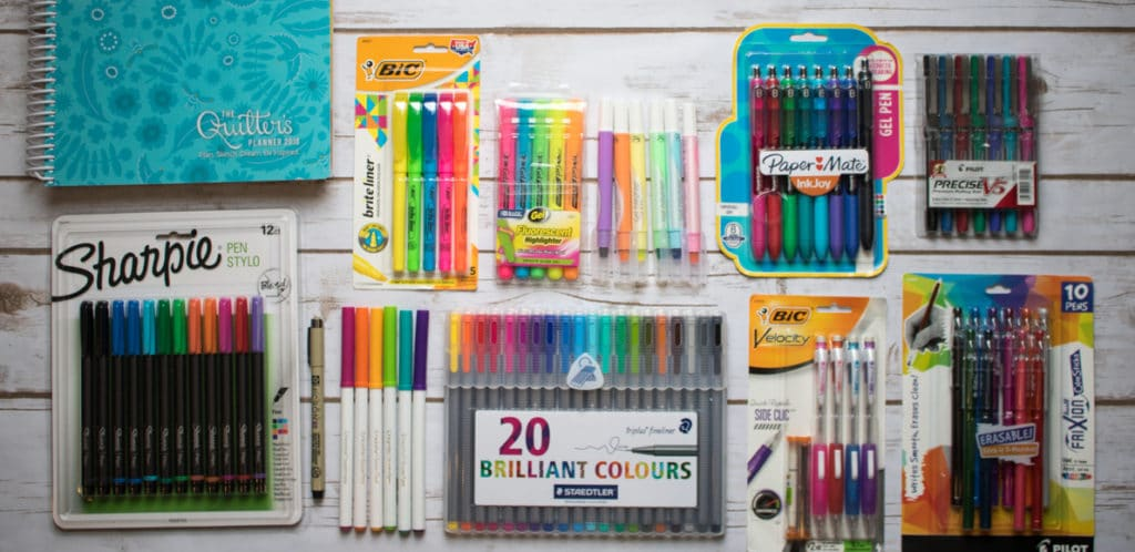 writing tools tested in quilters planner