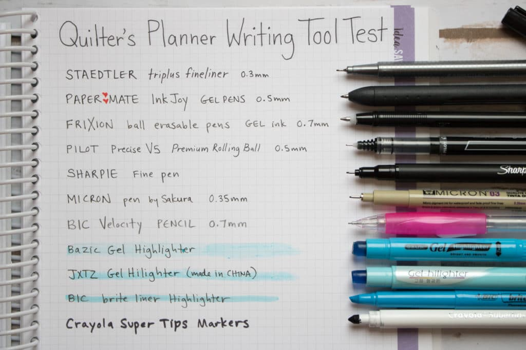 quilters planner writing tool test
