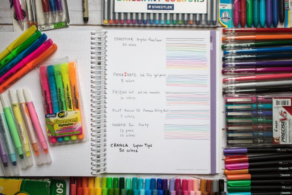 colorful writing tools for quilters planner