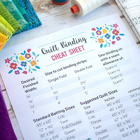 Free printable: Quilt Binding Cheat Sheet